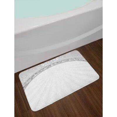 Curvy Pale Grey White Damask Bath Rug