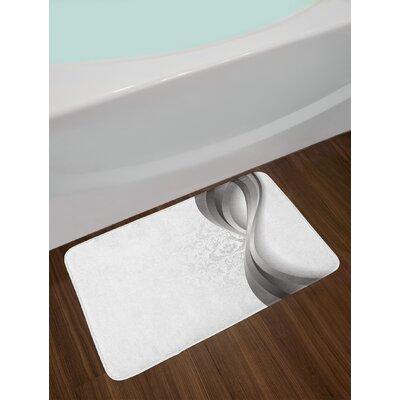 Wavy Gray Pale Grey White Grey Bath Rug