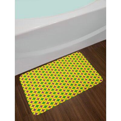 Retro Purple Fern Green Yellow Mardi Gras Bath Rug