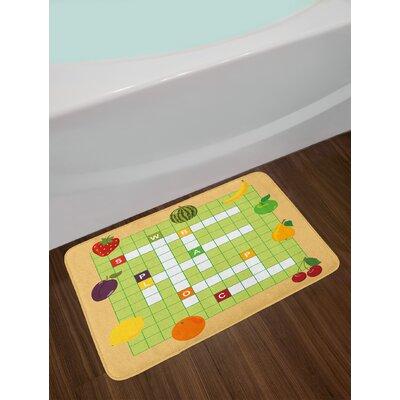 Vivid Multicolor Word Search Puzzle Bath Rug