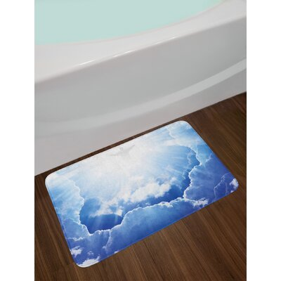 Ethereal Sky Blue White Blue and White Bath Rug