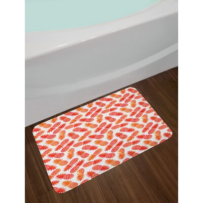 Vintage Orange White Orange Bath Rug