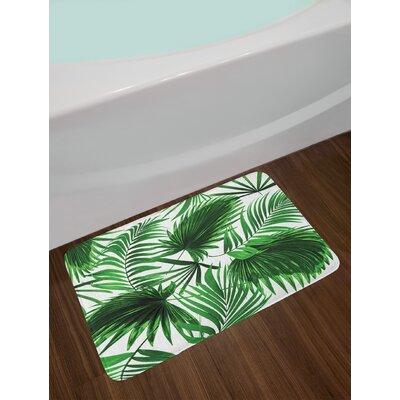 Realistic Fern Green White Palm Leaf Bath Rug