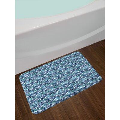 Watercolor Navy Blue Sky Blue Turquoise Palm Leaf Bath Rug