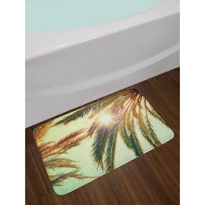 Beaming Green Orange Palm Leaf Bath Rug