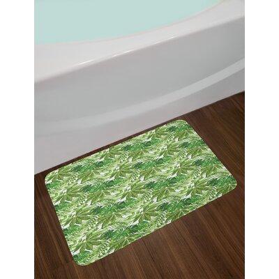 Mix Green Olive Green White Palm Leaf Bath Rug