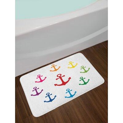 Colorful Multicolor Anchor Bath Rug