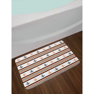 Simplistic Orange Black White Anchor Bath Rug