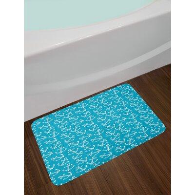 Stylized Blue White Anchor Bath Rug