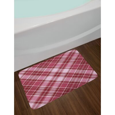 Diagonal Dried Rose Ruby and White Checkered Bath Rug
