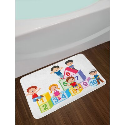 Happy Multicolor Educational Bath Rug