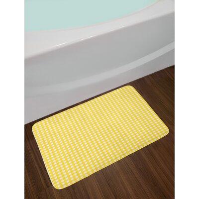 Classic Yellow White Checkered Bath Rug