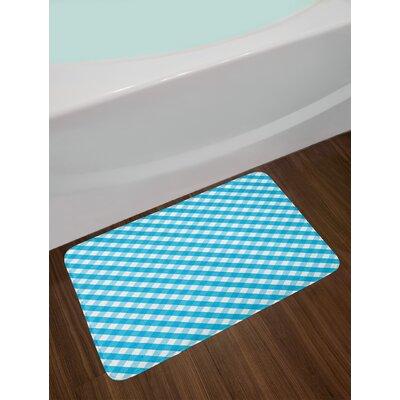 Diagonal Aqua White Checkered Bath Rug