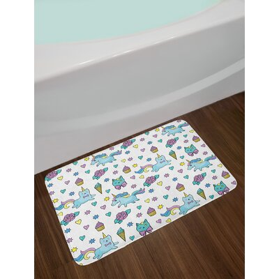 Girls Pale Blue Lavender Yellow Unicorn Cat Bath Rug