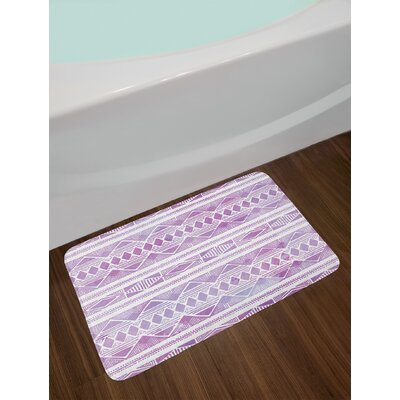 Tribal Violet Lilac White Watercolor Bath Rug