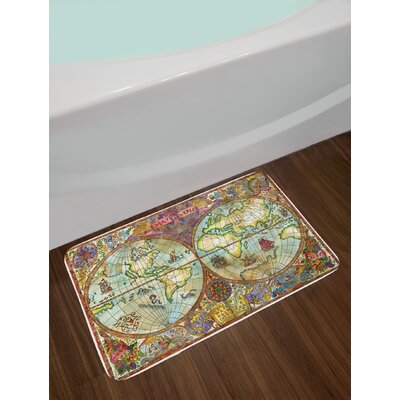 Vintage Multicolor Watercolor Bath Rug