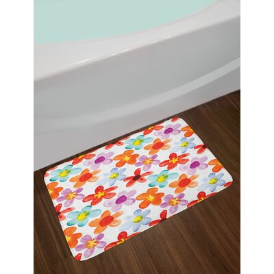 Colorful Multicolor Watercolor Bath Rug