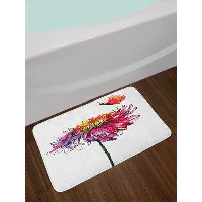 Chrysanthemum Multicolor Watercolor Bath Rug