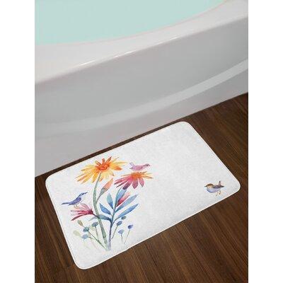 Springtime Slate Blue Amber Levander Watercolor Bath Rug