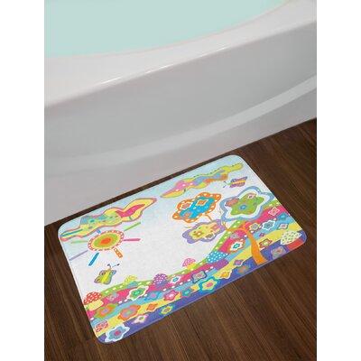 Childlike Multicolor Doodle Bath Rug