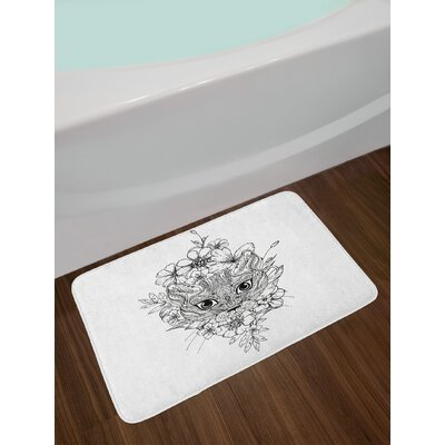 Abstract Black White Doodle Bath Rug
