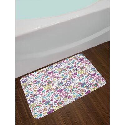Retro Multicolor Doodle Bath Rug