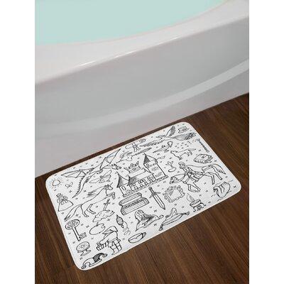 Prince Black White Doodle Bath Rug