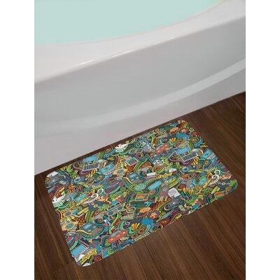 Multicolor A Doodle Bath Rug