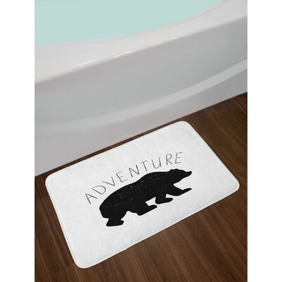 Black Charcoal Grey White Adventure Bath Rug
