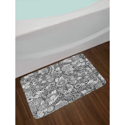Floral Black White Doodle Bath Rug