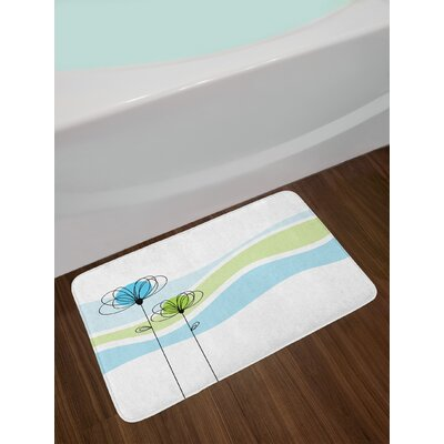 Summer Apple Green Aqua Avocado Green Doodle Bath Rug