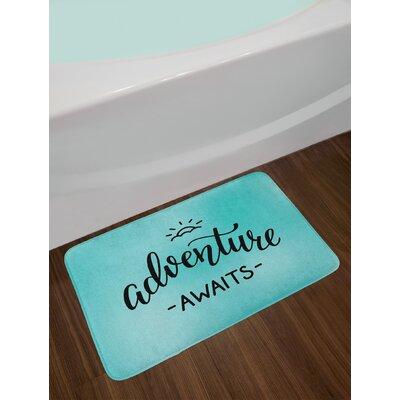 Adventure Turquoise Charcoal Grey Adventure Bath Rug