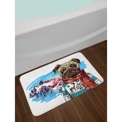 Sketch Ruby Blue Pug Bath Rug