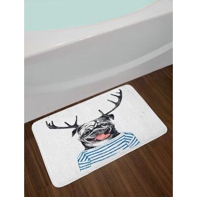 Hipster Black Blue White Pug Bath Rug