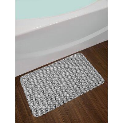 Monochrome Squares Black and White Bath Rug