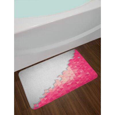 Abstract Pink and Grey Bath Rug