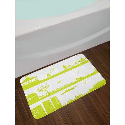 Monochrome Green and White Bath Rug