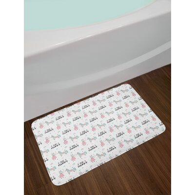 Nursery Cartoon Unicorn Party Bath Rug