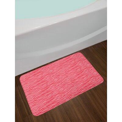 Wavy Pink Zebra Bath Rug