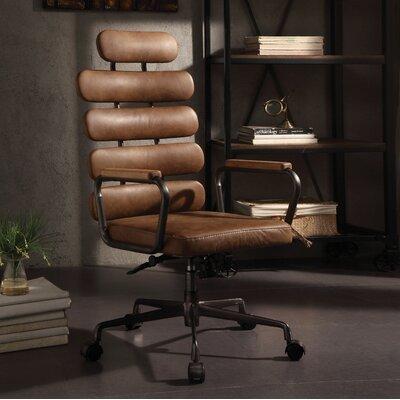 Ezequiel Genuine Leather Executive Chair Color: Brown