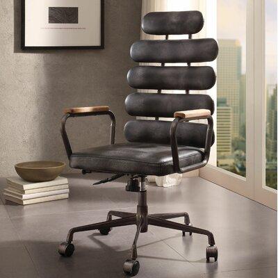 Ezequiel Genuine Leather Executive Chair Color: Black