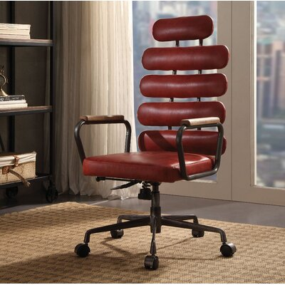 Ezequiel Genuine Leather Executive Chair Color: Red