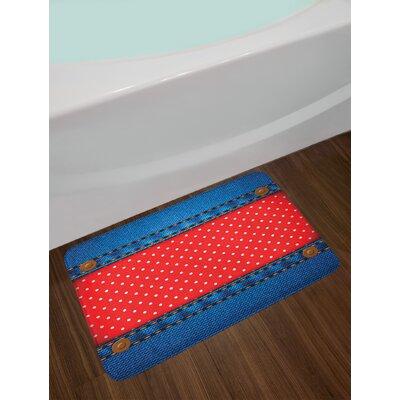 Jeans Polka Dots Bath Rug