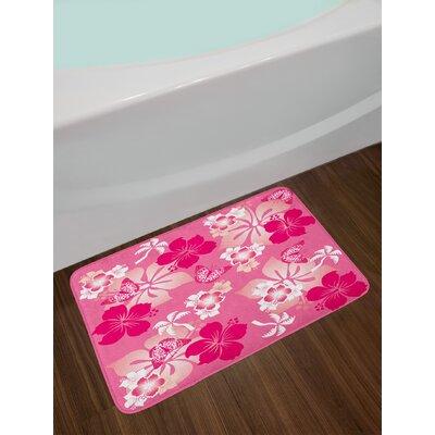 Luau Abstract Hibiscus Bath Rug