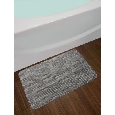 Modern Grey and White Bath Rug