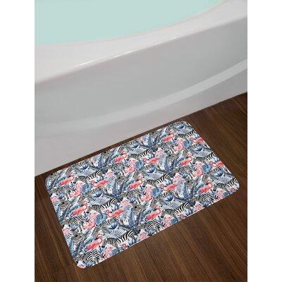 Exotic Flamingo Watercolor Bath Rug