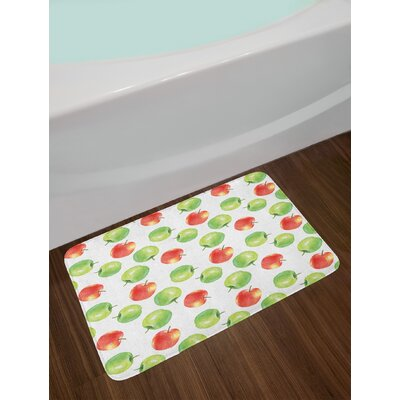 Ambesonne Apple Bath Mat by, Watercolor Illustration of Granny Smiths and Celesta Brush Strokes Effect, Plush Bathroom Decor Mat with Non Slip Backing, 29.5 W X 17.5 W Inches, Dark Coral Apple Green