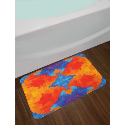 Ambesonne Trippy Bath Mat by, Kaleidoscopic Motif Vibrant Blue and Orange Psychedelic Image Symmetrical Pattern, Plush Bathroom Decor Mat with Non Slip Backing, 29.5 W X 17.5 W Inches, Multicolor