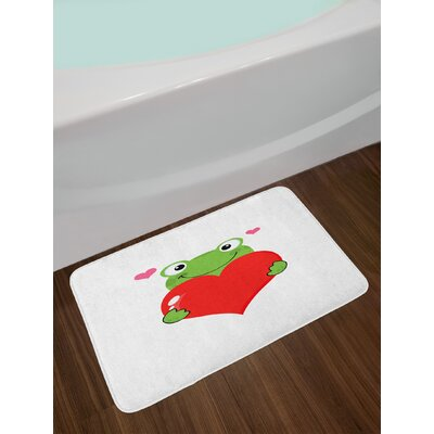 Ambesonne Love Bath Mat by, Cute Cartoon Frog Holding Giant Heart Adoration Theme Funny Character Illustration, Plush Bathroom Decor Mat with Non Slip Backing, 29.5 W X 17.5 W Inches, Green Red Pink