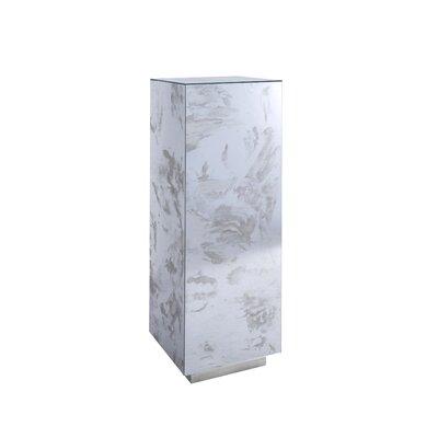 "Mirror Pedestal Plant Stand Size: 38"" H x 12"" W x 12"" D, Base Color: Silver Leaf"